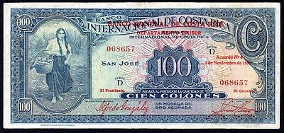 03.11.1937 Costa Rica 100 Colones P.194 * VF * Money Bill Currency BETTER DATE