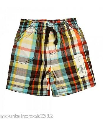 New JUMPING BEANS Boy's Shorts Size 9 months Plaid Cotton Brown