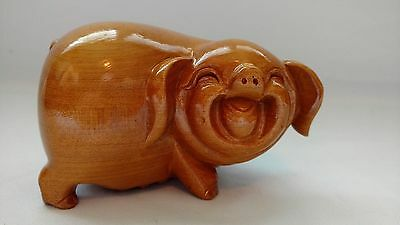Vintage Wooden Pig Sow Figure Hand Carved Very Unique Big Butt Happy Figurine