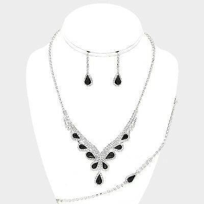 Black rhinestone jewellery set sparkly diamante bridal prom bridesmaid 0533