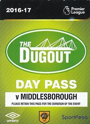 Ticket - Hull City v Middlesbrough 05.04.17 Day Pass for Club Bar