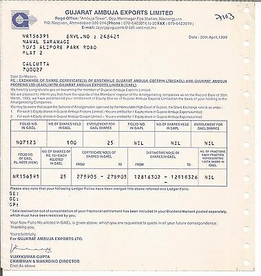 1999 India share certificate:Gujarat Ambuja Exports Limited