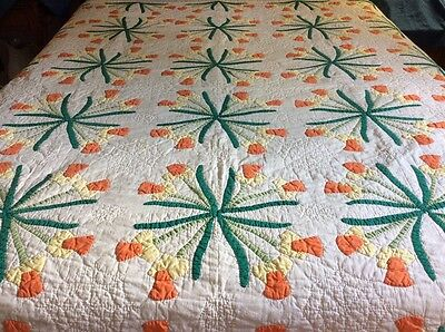 Daffodil Appliqued Vintage Quilt Hand Made Genesco New York 1991 Hand Done