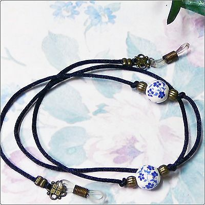 Cord Reading Eye glasses, spectacle holder lanyard, Dark Blue White Porcelain