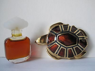 Estee Lauder Gold Brown Turtle Compact Full Cinnabar Solid Perfume + Perfume.Lot