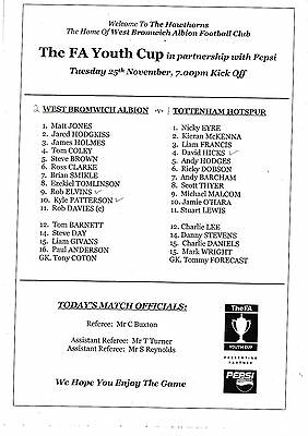 Teamsheet - West Bromwich Albion Youth v Tottenham Hotspur Youth (Undated)
