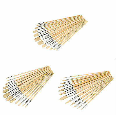 Silverline Artists Paint Brush 12 Piece Set Flat, Pointed, Round, Mixed Tipped