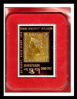 Magnifique The One Penny Black Plaque Or 22 Carats Gold Stamp Of Bhutan