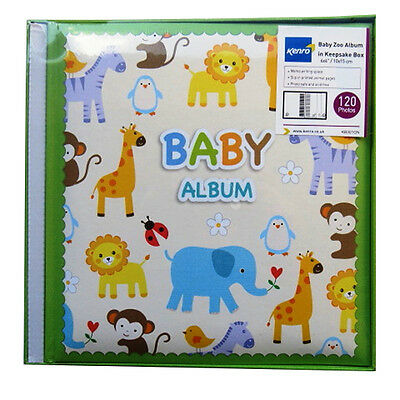 "Stylish Baby Photo Album with Keepsake Box - ""Baby Zoo Green"" 120 Photos - 6 x 4"