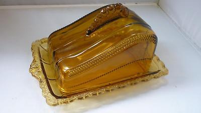 Victorian Amber preesed Glass Cheese Dish