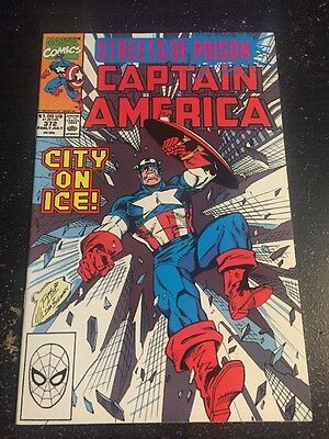 """Captain America#372 Incredible Condition 9.4(1990)""""Streets Of Poison"""" Lim Art!!"""