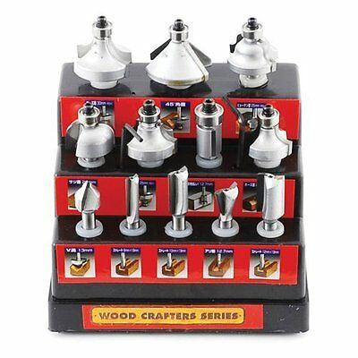 Wood Crafter Carbide Super Hard Router Bit Set TRB-12S Japan with Tracking