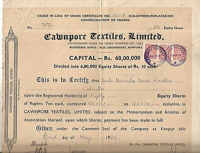 1984 India share certificate: Cawnpore Textiles Limited