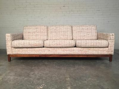 Beautiful Mid-Century Modern Sofa / Couch With Walnut Base - Superb Condition