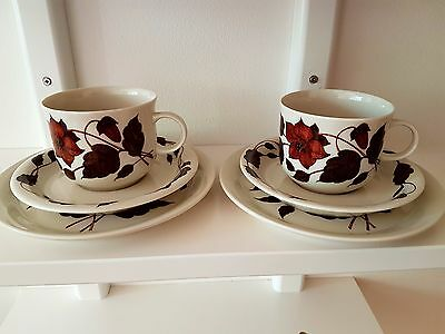 "Pair of Arabia Finland  Tea Cup ""TEA FOR TWO"" Series, Designed by Gunvor Olin-Gr"
