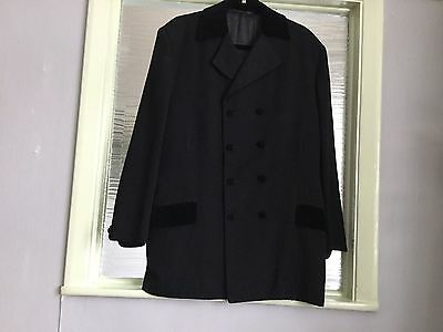 "Teddy boy drape jacket all black / velvet trim size 44"" chest"
