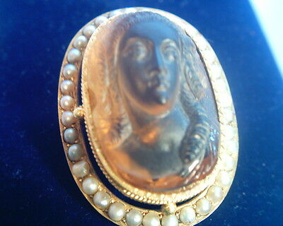 Rare Antique French Carved Citrine & Seed Pearl Yellow  Gold Cameo Brooch