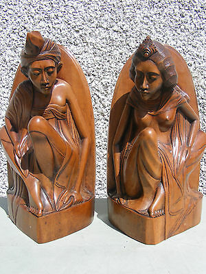 Antique Pair Of Tibetan Bali Carved Wood Bookends Exceptional Quality