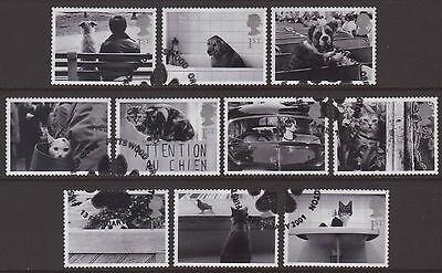 """LOT#295y - GB QEII 2001 """"CATS AND DOGS"""" SELF-ADHESIVE STAMP SET FINE USED ex FDC"""