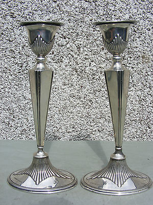 Antique Pair Of Solid Silver Hallmarked Candlesticks