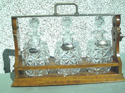 Antique Victorian Edwardian Tantalus 3  Crystal Glass Decanters