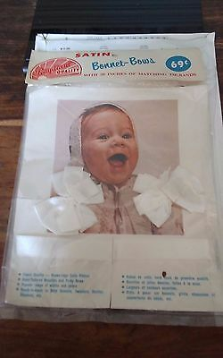 Vintage baby satin bonnet bows 30 inches tie bands for knitwear infants NEW