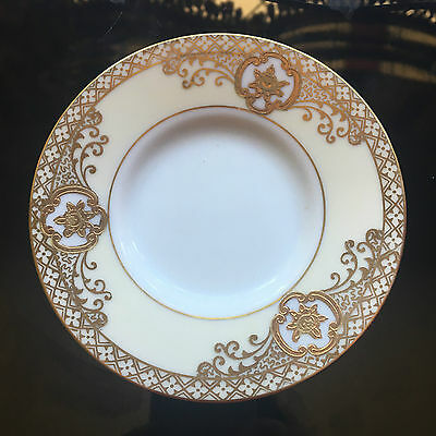 "Noritake Cream White and Gold ""basket of flowers"" Saucer 5"""