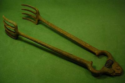 Vintage Antique Cast Iron Stove Fireplace Blacksmith Tool Tongs Spring Loaded