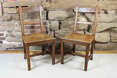 Pair of Arts and Crafts Oak Hall Chairs