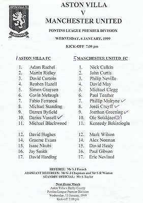 Aston Villa Reserves v Manchester United Reserves 1998/9 - Single Sheet