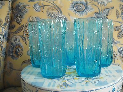 Vintage Turquoise Crinkle Glass/Bamboo Pattern Drinking Glasses - 5