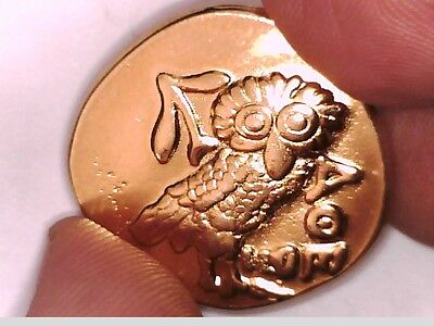 Ancient Greek Tetradrachm 24K GOLD Plated Attica ATHENS Owl Eule Repro coin