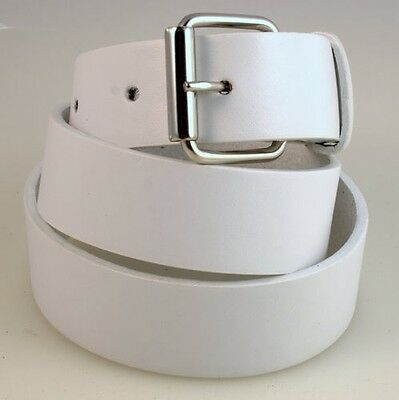 Bowls / Golf Mens White Leather Belt with Silver or Gold Buckle. Brand New!