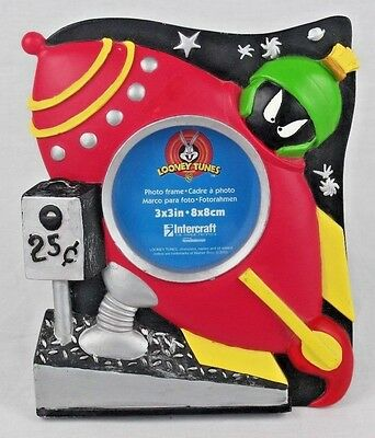 """Looney Tunes Intercraft 3""""x3"""" Picture Frame Marvin The Martian Red Rocket Ship"""