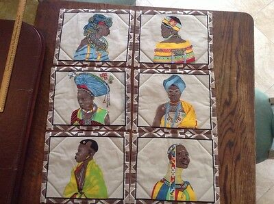 Extraordinary 6 Kenya Tribal African Print Pattern Placemats 11X14