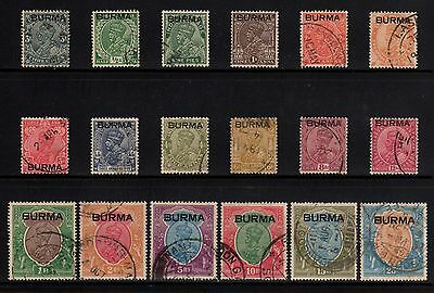 GB Colony Burma 1937 Self Government Sc 1 - 18 Complete Set - KGVI CV$1200
