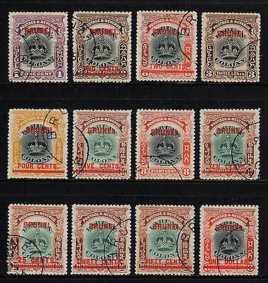 GB Protectorate Colony Brunei 1906 Sc 1 - 12 Set Labuan Crown Stamps Surcharge