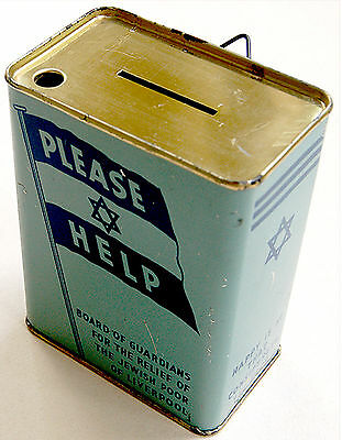 1930 Fine TZEDAKAH Pushke JEWISH TIN SAVING BOX England LIVERPOOL Judaica