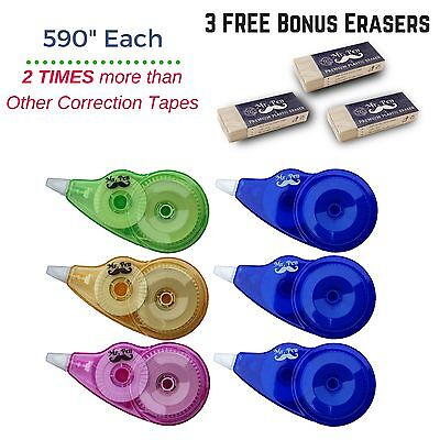 6 Packs Compact Correction Tape White Out Break Proof Office School Paper + GIFT