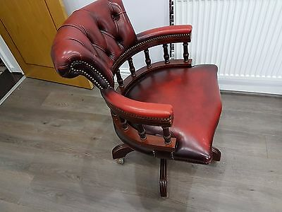 Top Quality English Leather chesterfield Captains swivel desk chair. armchair