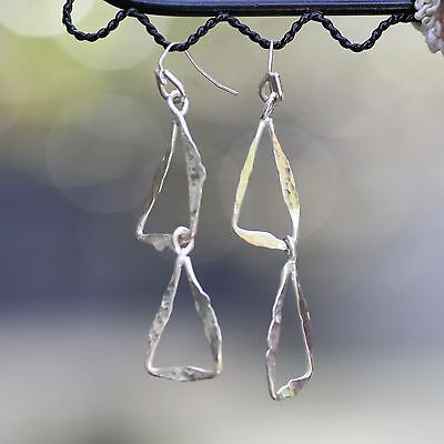 Hammered Triangle Earrings Solid Sterling Silver Handmade in Canada Music Theme