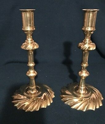 Colonial Williamsburg Swirl Bass Brass Candle Holders Nice Vintage Condition