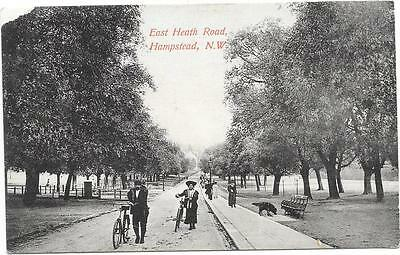 2053 Pc East Heath Road Hampstead N.w. Posted 1907 ( Couple With Cycles )