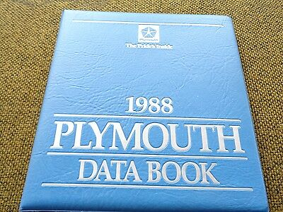 1988 88 Plymouth Data Book-Sundance-Voyager-Reliant-Caravelle-Grand Fury-Colt