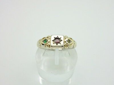 Gorgeous Art Deco 9ct Gold & Sterling Silver Suffragette Colours Ring Size Q 1/2