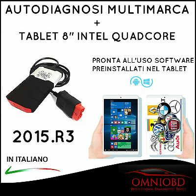"Autodiagnosi Multimarca Con Tablet 8""  + Delph1 2015.r3  Auto Diagnosi Obd Obd2"