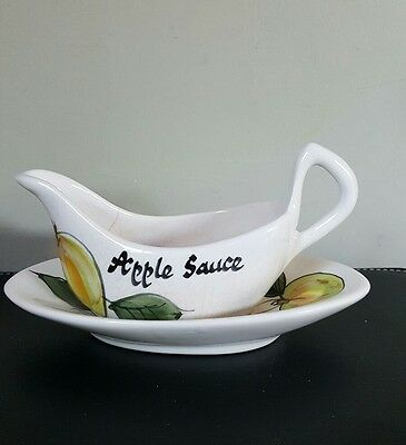 Retro Toni Raymond Pottery Apple Sauce Boat and Stand