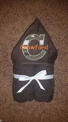 Personalized Brown Camo Initial w/ Orange Name Hooded Towel