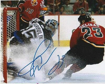 MARTIN GELINAS SIGNED CALGARY FLAMES 2004 STANLEY CUP WINNING GOAL? 8x10 PHOTO!