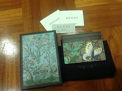 Gucci Tian Garden Credit Card Holder Case Wallet Authentic Boxed